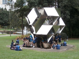 Yr 7 students with an outdoor sculpture at GOMA